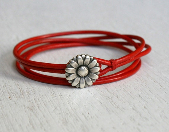 Friendship Double Wrap Leather Bracelet, Flower bracelet (many charms and colors to choose)