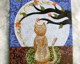 ON SALE! Moonlight And Copperfoot - fabric collage wall art - Ready to Hang