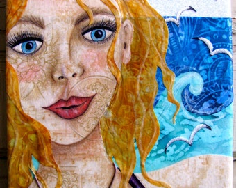 Amber of the Sea - Fabric collage on canvas - Ready to Hang