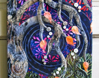 The Weeping - Fabric Collage Wall Art - Ready to Hang