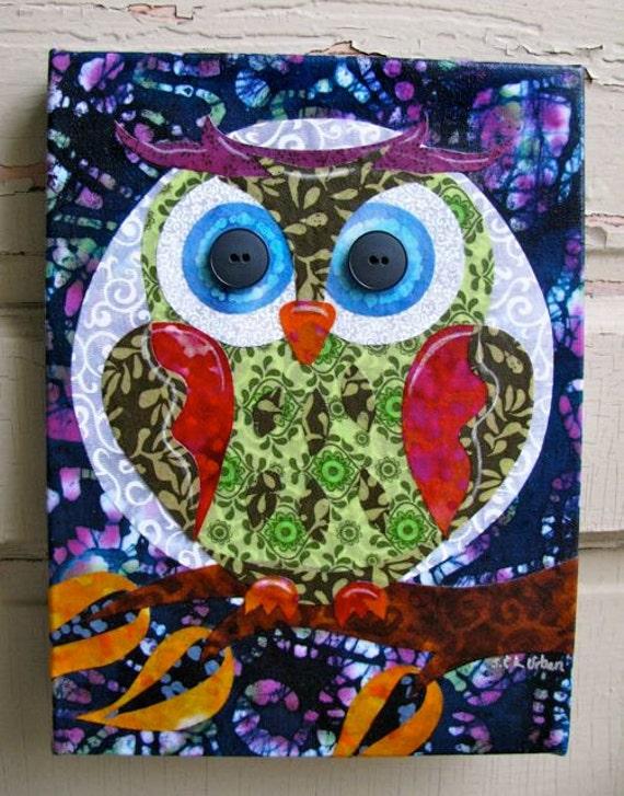 Items Similar To Batik Owl Fabric Collage Wall Art