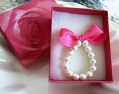 Little Girls Swarovski Pearl and ribbon Bracelet custom made with ribbon color of your choice and special rose box
