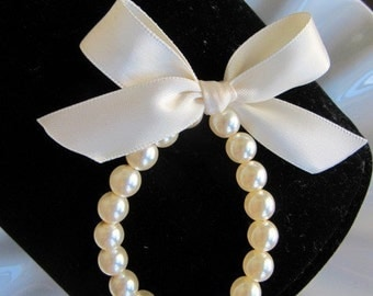 Flower Girl Pearl Bracelet with ribbon for wedding, toddler birthday, or babies photo prop