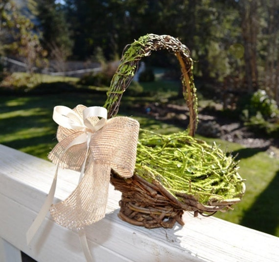 Flower Girl Basket Moss and twig basket with burlap and satin bows rustic, cottage and shabby chic wedding