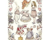 TWO LEFT  CLASSIC ALICE IN WONDERLAND Embossed Cut Out Paper Dolls Sheet DESTASH