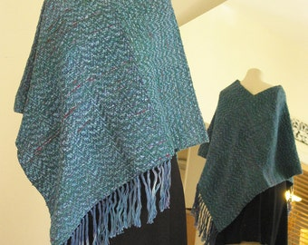 OOAK Hand Woven, Hand Dyed poncho in Teal