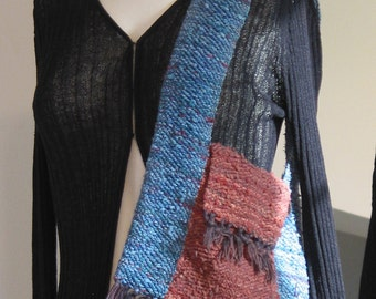 OOAK Hand Woven, Hand Dyed cotton Tote / Purse in egyptian red & teal blue