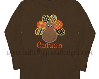 Boys Monogrammed Turkey Shirt-Brown Personalized Applique Turkey Thanksgiving Shirt