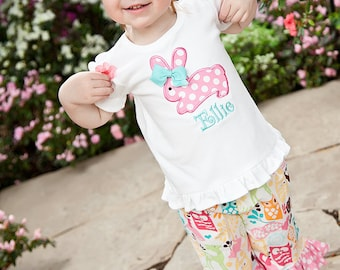 Girls Hopping Bunny Easter SHIRT ONLY-Personalized Applique Easter Short or Long Sleeve Shirt