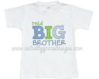 Applique Big Brother Shirt or Onesie, Boys Monogrammed Sibling Shirt