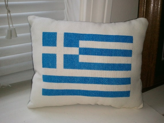 Hand Made Greek Flag Embroidery Cross Stitch Blue and White OOAK Flags Cultural National Pride