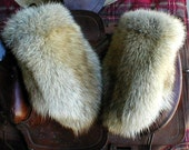 Pair of handmade X large coyote fur mittens with red fleece liner