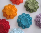 Scalloped Wool Felt Flowers-You Choose Colors-25 Flowers(100 pieces)-Layered Felt Flowers