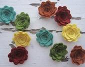 WOOL Felt Flowers-Garden Mum Collection-Felt Posie-Felt Rosette