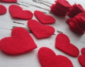 Red Wool Heart Felt Cut Outs-40 pieces-Valentine's Day-Felt Heart Die Cut