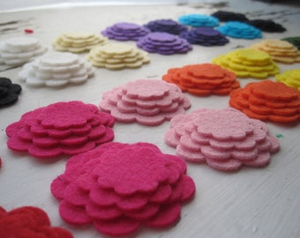 WOOL Felt Flower Cut Outs-The Rainbow spectrum