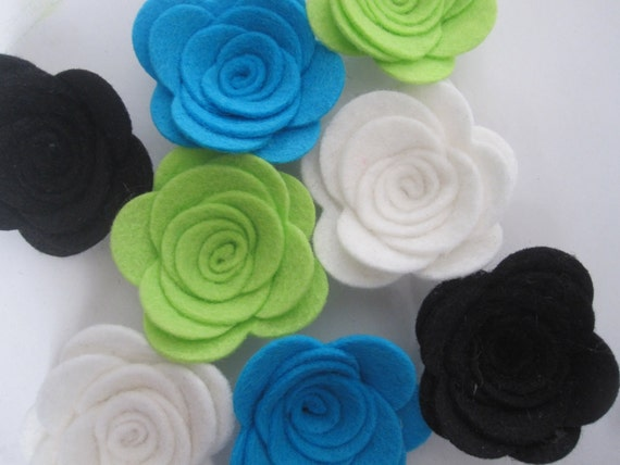 Large WOOL Felt Flowers-The Roller Rink Collection-8 pieces-Felt Posie-Felt Rosette