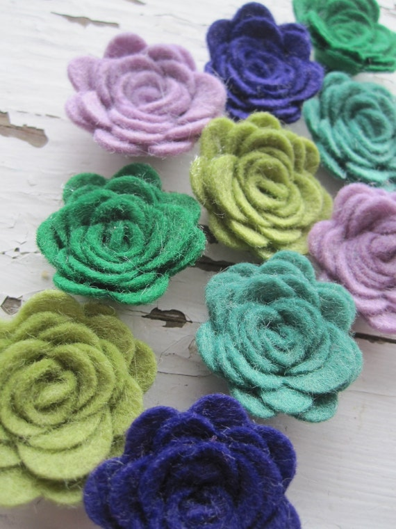 WOOL Felt Flower Posies-Caribbean Collection- Felt Rosette-Felt Posie