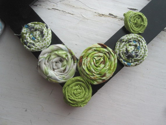 Fabric Flowers-Rolled Fabric Flowers-Fabric Rosette- Cream and Greens