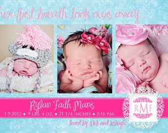 Baby Girl Birth Announcement - pink & blue