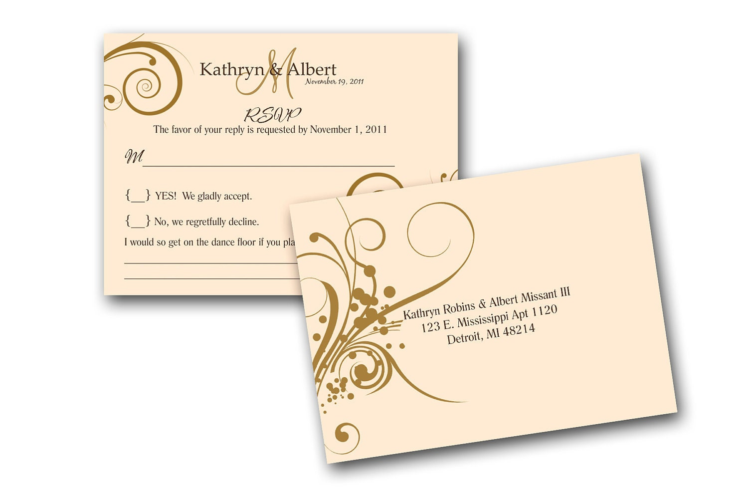 Invitation Cards For Wedding: RSVP Cards To Match Wedding Invitations A By Gwenmariedesigns