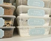 Custom Printable Pantry Labels - Long Rectangle Stella Blue Kitchen Organization Labels