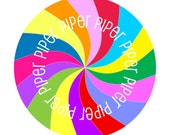Personalized melamine plate with colorful swirl