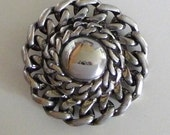 Vintage Silver Mirror Chain Linked Brooch