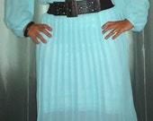 RESERVE FOR shayray21 - Vintage Aqua Blue Pleated Chiffon Dress with Belt