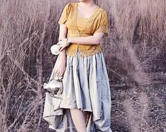 SALE--Silver silk dupioni skirt with asymmetric hem