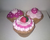 Three felt iced cupcakes -
