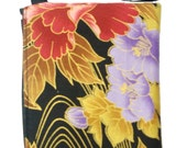 CHRISTMAS SALE ELECTRONIC DEVICE CLUTCH PURSE, POUCH, WRISTBAND MAKEUP BAG, COSMETIC BAG WITH SMALL YELLOW AND PURPLE FLOWER BLACK ASIAN ORIENTAL DESIGN PRINT EXTERIOR