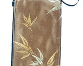 CHRISTMAS SALE ELECTRONIC DEVICE BAG ,POUCH, WRISTLET MAKEUP BAG, COSMETIC BAG WITH WITH BAMBOO LEAF ORIENTAL ASIAN DESIGN EXTERIOR