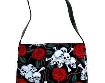 USA Handmade Messenger Bag With Red Roses Skeleton Alexander Henry Cotton Fabric, New