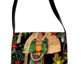 "US Handmade Messenger Bag With ""FRIDA With Parrots"" Pattern Shoulder Bag Purse,  Cotton, New"