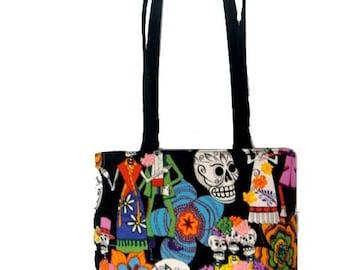 USA Handmade Handbag Shoulder Bag With Los Novios Pattern Cotton Fabric, New, Rare