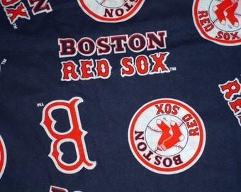 MLB Boston Red Sox Cotton Fabric  Blue  Color- 36 by 58 inches  RARE  vintage . one yard