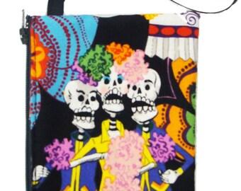 Small coin bag, Pouch, Make up  bag Los Novios Skulls Alexander Henry Fabric