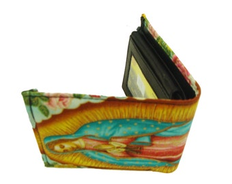 Virgin Mary Gauadelupe Men bi-fold Wallet  US Handmade Cotton Fabric,  new, rare