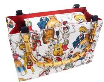Day of the Dead box shape USA handmade bag with bamboo handle Alexander Henry fabrics