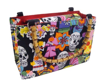 Day of the Dead Los Novios box shape US Handmade Bag Purse with Bamboo Handle Alexander Henry Fabrics