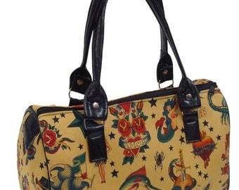 Handbag Doctor bag Satchel Style  Skulls Tattoos  Alexander Henry Fabric Cotton Fabric Bag Purse, new