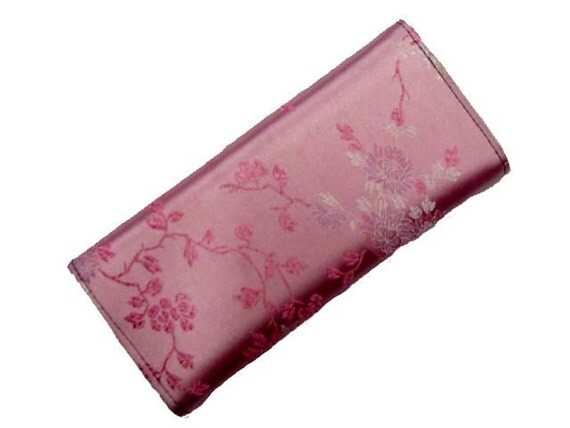 Wallet  With  Flowers  Oriental  Design Hot pink Exterior