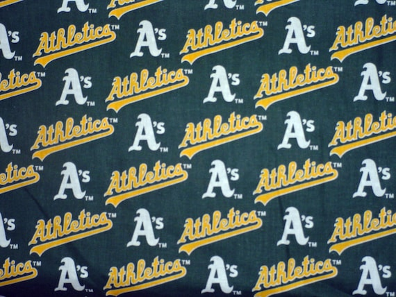 MLB OAKLAND ATHLETICS Cotton Fabric -TWO yard NEW AND RARE