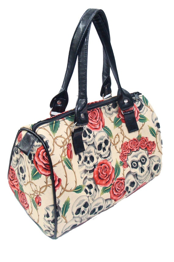Handbag Doctor bag Satchel Style Skulls Rose Tattoo Day of the Dead Alexander Henry Fabric Cotton Fabric Bag Purse, new, rare