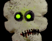 Green Eyed Zombie Skull Cookie