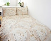 Victoria Queen Size Bedding Set in Beige, Brown, White and Black  by Mauve Binchely