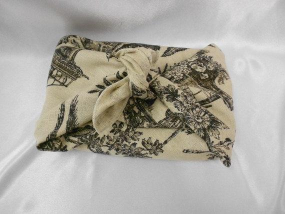 Linen Toile Napkin- Furoshiki in Black and White