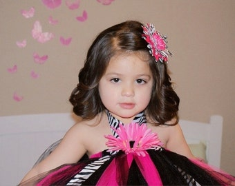 Black Zebra and Hot Pink Tutu Dress..Sizes -2-3 years old..Plus a Free Flower  clip