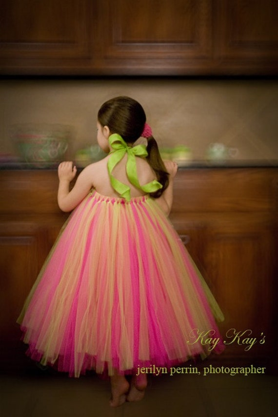 Summer Princcess Halter Tutu Dress...Sizes 6-7 yrs....Plus a Free Flower clip